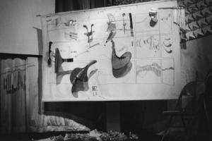 Stage board with symbolic notations (Zdroj: vasulka.org)