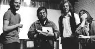 Dmitri Devyatkin, Woody Vasulka, Rhys Chatham, Steina, in the Kitchen, 1971? photo: vasulka.org